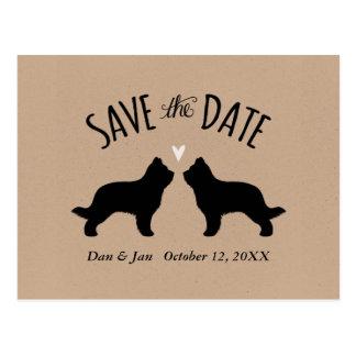 保存を結婚するBriardのシルエット日付 ポストカード
