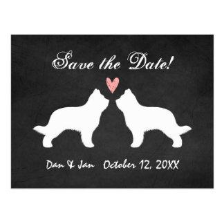 保存を結婚するBriard犬のシルエット日付 ポストカード