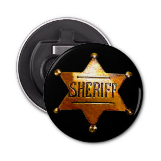 保安官のバッジのボタン型栓抜き 栓抜き