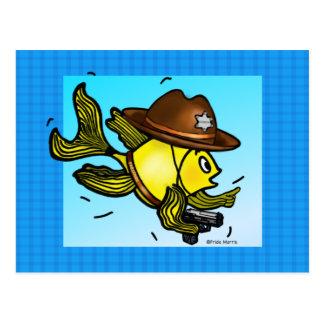 保安官の魚-おもしろいでかわいく活発な漫画 ポストカード