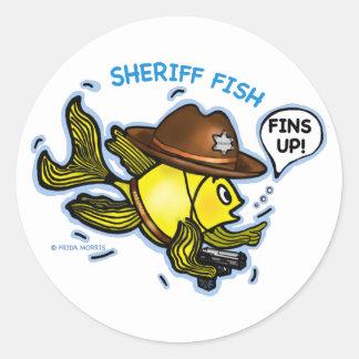 保安官の魚-おもしろいでかわいく活発な漫画 ラウンドシール