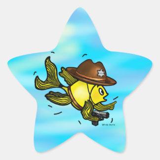 保安官の魚-おもしろいでかわいく活発な漫画 星シール