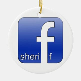 保安官のFacebookのロゴのユニークなギフトの人気があるなテンプレート セラミックオーナメント