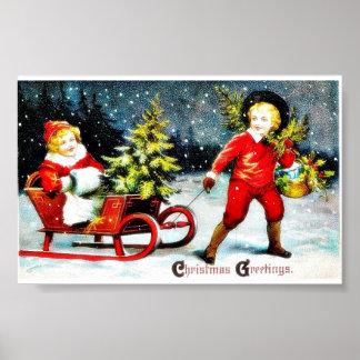 保有物とのクリスマスの挨拶holのバスケット ポスター