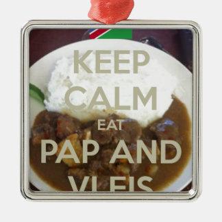 保穏やか食べpapおよびvleis.png メタルオーナメント