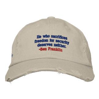 保証愛国者の帽子のためのベンフランクリンの自由 刺繍入りキャップ