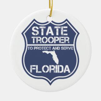 保護し、役立つフロリダの州警察官 セラミックオーナメント