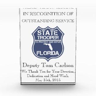 保護し、役立つフロリダの州警察官 表彰盾