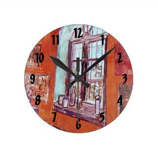 保護所のヴィンチェンツォのスタジオのゴッホの窓 ラウンド壁時計