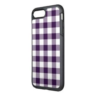 保護紫色および白いギンガムパターン オッターボックスシンメトリーiPhone 8 PLUS/7 PLUSケース