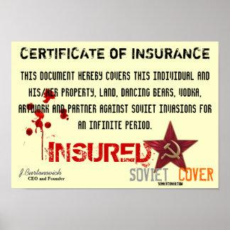 保険のソビエトカバー証明書 ポスター