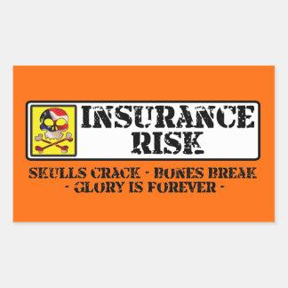 保険の危険-スカルのひび-骨の壊れ目 長方形シール
