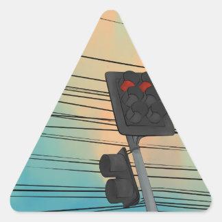 信号の午後 三角形シール
