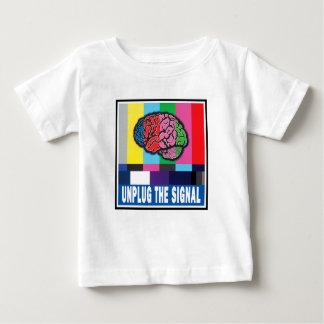 """""""信号""""のベビーのTシャツのバージョン2プラグを抜いて下さい ベビーTシャツ"""