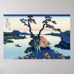 信州諏訪湖、湖Suwa、Hokusaiからの北斎の眺め富士山 ポスター