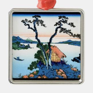 信濃国Hokusaiの湖Suwa メタルオーナメント