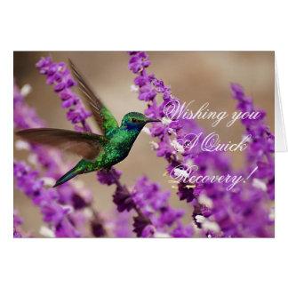 信頼のきらめくなすみれ色耳のハチドリの翼 グリーティングカード
