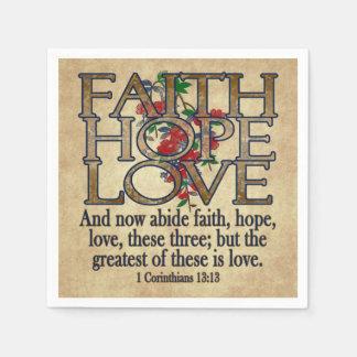 信頼の希望愛エレガントな聖書の聖なる書物、経典のクリスチャン スタンダードカクテルナプキン
