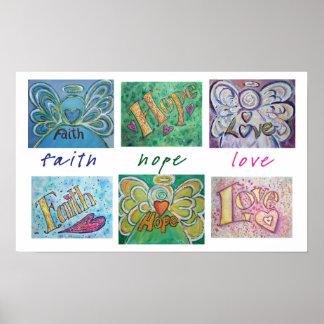 信頼の希望愛単語のコラージュの芸術ポスタープリント ポスター