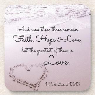 信頼の希望愛、1 Corinthiansの13:13、海のビーチ コースター