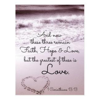 信頼の希望愛、1 Corinthiansの13:13、海のビーチ ポストカード