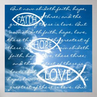 信頼の希望愛- 1 Corinthians 13; 13 -ポスター ポスター