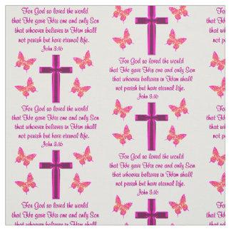 信頼は十字および蝶ジョンの3:16の生地を満たしました ファブリック