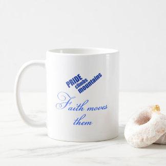信頼移動山のキリスト教のデザイン コーヒーマグカップ