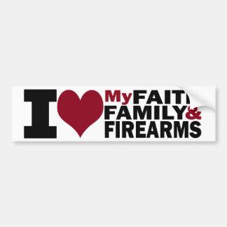 信頼、家族及び火器のバンパーステッカー バンパーステッカー