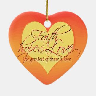 信頼、希望および愛日没 セラミックオーナメント