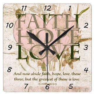 信頼、希望および愛 スクエア壁時計