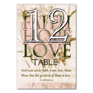 信頼、希望、愛テーブル カード