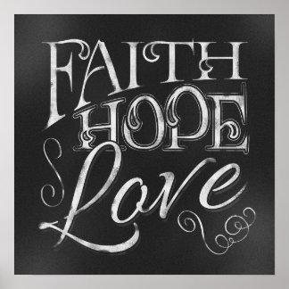 信頼、希望、愛黒板ポスター ポスター