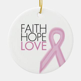 信頼、希望、愛-乳癌サポート セラミックオーナメント