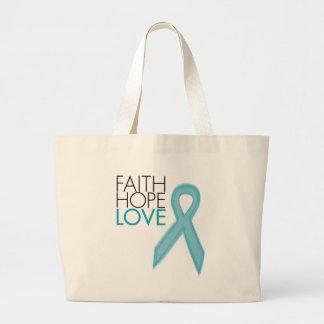 信頼、希望、愛-卵巣癌 ラージトートバッグ