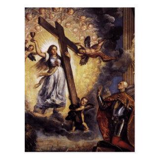 信頼Titianの前にひざまずいているAntonio Grimani ポストカード