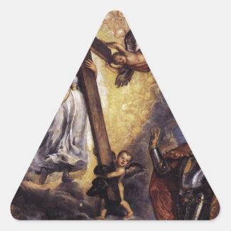 信頼Titianの前にひざまずいているAntonio Grimani 三角形シール・ステッカー