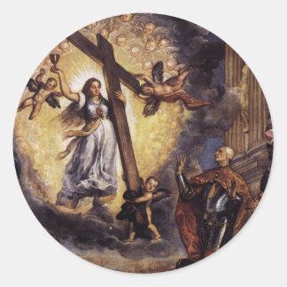 信頼Titianの前にひざまずいているAntonio Grimani 丸型シール