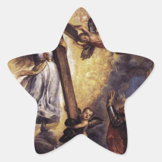 信頼Titianの前にひざまずいているAntonio Grimani 星形シール・ステッカー