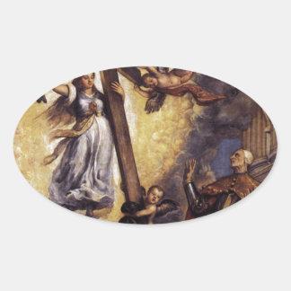 信頼Titianの前にひざまずいているAntonio Grimani 楕円形シール