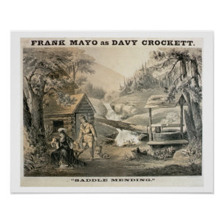「修繕」に、「Davy Crockett」のstarrのためのポスターサドルを置いて下さい ポスター