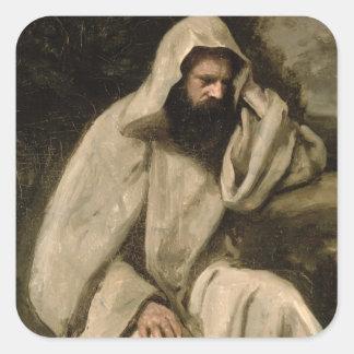 修道士のポートレート、c.1840-45 (キャンバスの油) スクエアシール