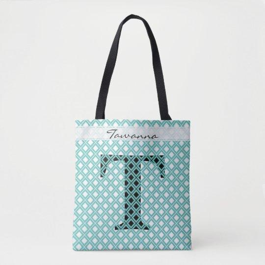個人化して下さい: はっきりしたな最初のティール(緑がかった色)か黒い幾何学的 トートバッグ