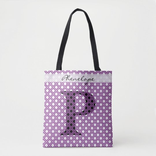個人化して下さい: はっきりしたな最初の紫色か黒い幾何学的 トートバッグ