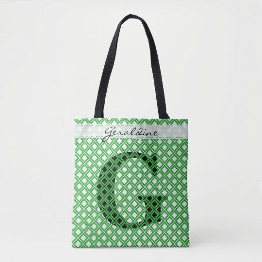 個人化して下さい: はっきりしたな最初の緑か黒い幾何学的 トートバッグ