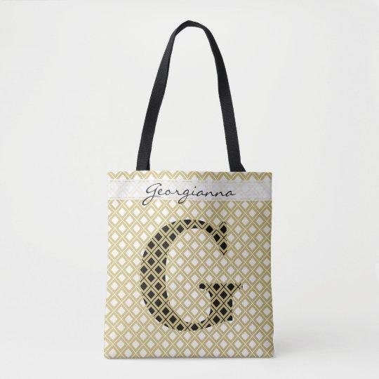 個人化して下さい: はっきりしたな最初の金ゴールドか黒い幾何学的 トートバッグ