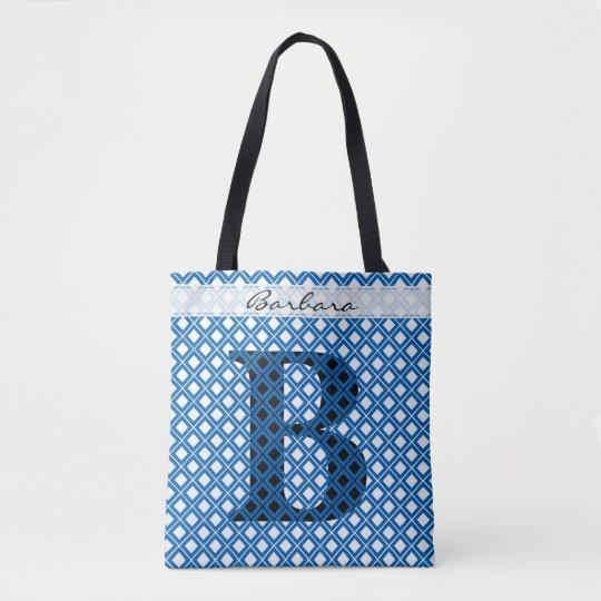 個人化して下さい: はっきりしたな最初の青か黒い幾何学的 トートバッグ
