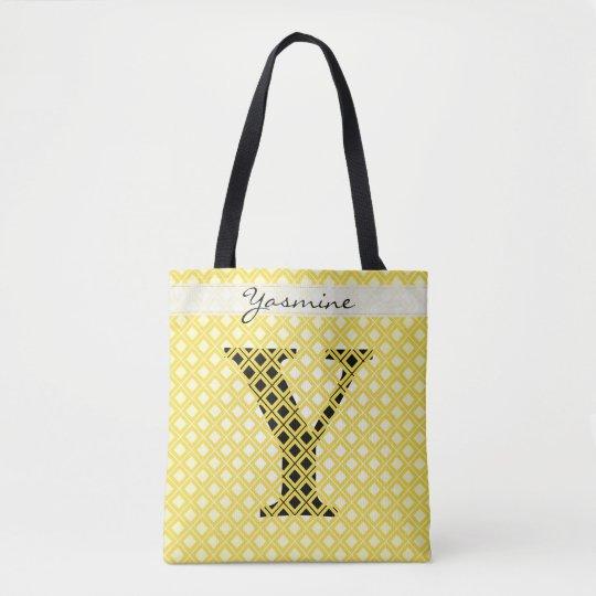 個人化して下さい: はっきりしたな最初の黄色か黒い幾何学的 トートバッグ