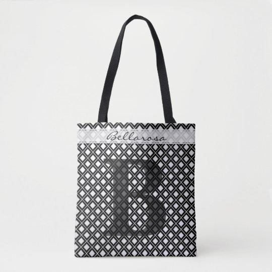 個人化して下さい: はっきりしたな最初の黒くか白い幾何学的 トートバッグ