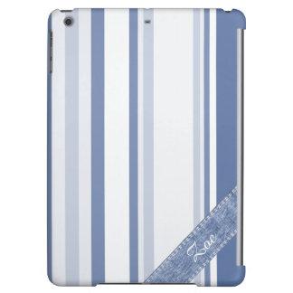 個人化して下さい: クラシックで青および白のストライプ iPad AIRケース